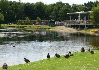 Bert's pizzeria overlooking the lake at Dacre Lakeside Park, Brandesburton