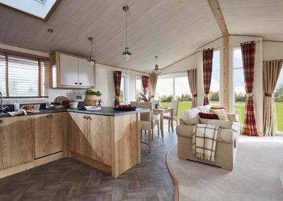 Coneygarth Lodge open plane kitchen and living room, Brandesburton