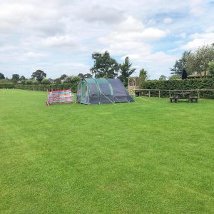 Camping tents in field at Dacre Park near Driffield