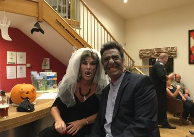 Frankenstein's monster and bride at Dacre Park clubhouse
