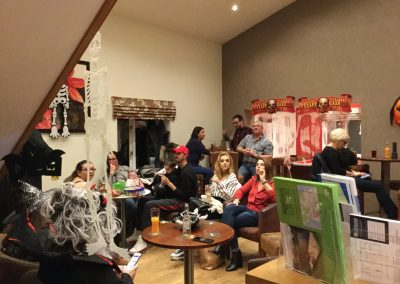 Families at halloween party at Dacre Park clubhouse